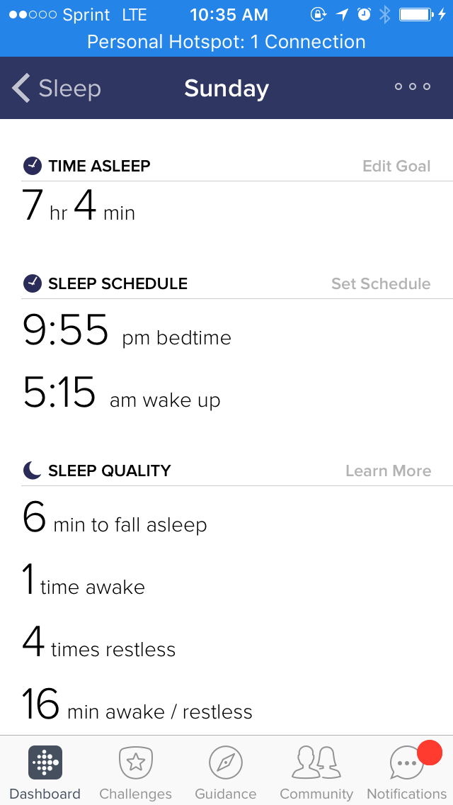 fitbit Sunday sleep schedule details, time asleep, sleep schedule, min to fall asleep, time awake, time restless,