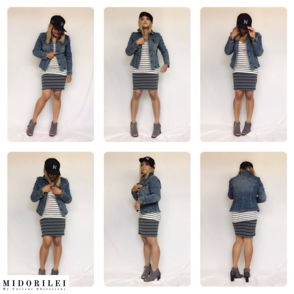 MidoriLei wears black cap, fitted denim jacket, black and white striped top, black and gray striped pencil skirt, and gray and black open toe ankle booties