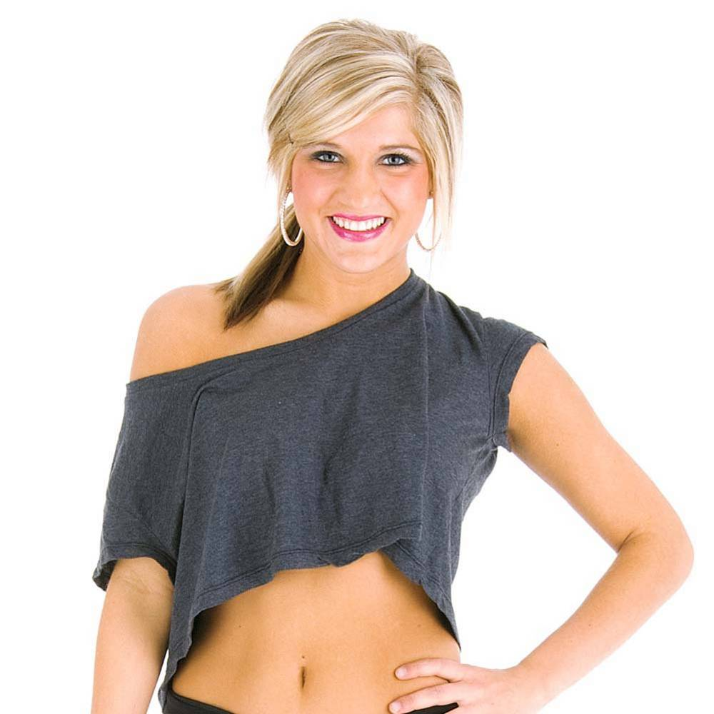 grey oversized loose dance crop tee from just for kix