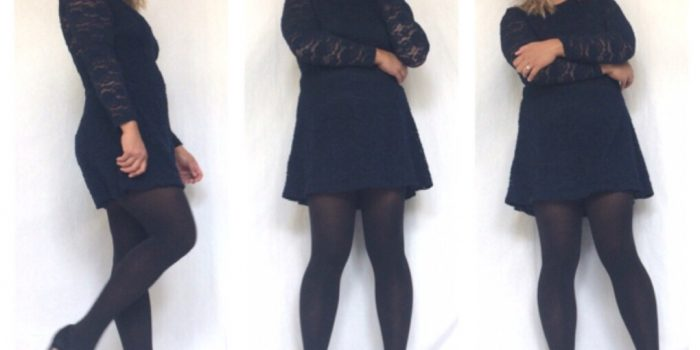 outfit ideas, navy blue, dress